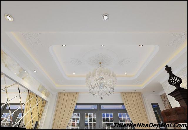 Trang trí trần nhà phố đẹp 6.5m