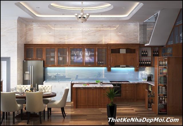 nội thất gỗ cho nhà bếp 6m