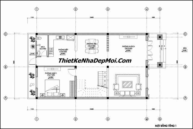 Mặt bằng thiết kế biệt thự phố 3 tầng mặt tiền 8m sâu 13.5m trên đất 8x20m ông Trung