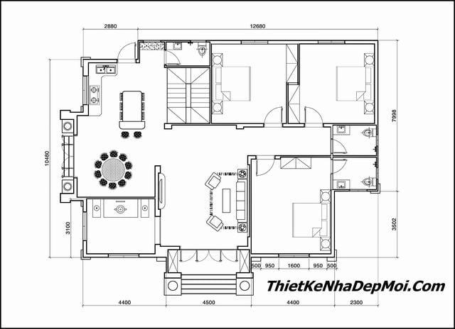 Bản vẽ chi tiết nhà cấp 4 3 phòng ngủ
