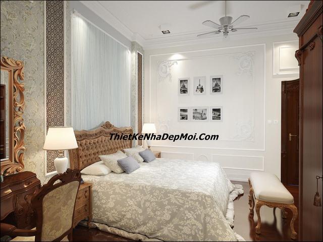 phòng ngủ master 32m2 cổ điển