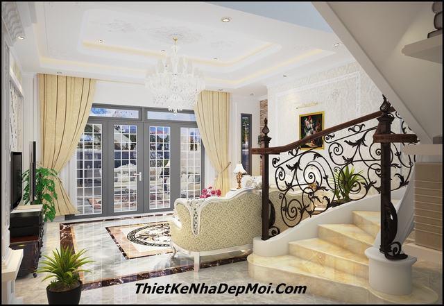 Không gian phòng khách tân cổ điển