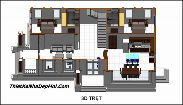 Mặt bằng biệt thự mini 2 tầng 4 phòng ngủ