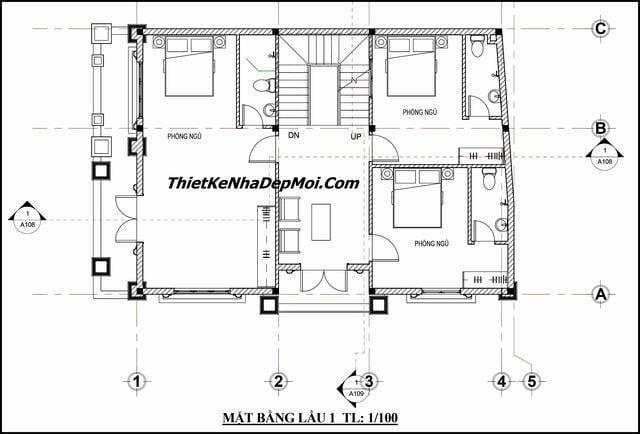 Bản vẽ biệt thự 1 trệt 1 lầu 1 sân thượng 9x12m