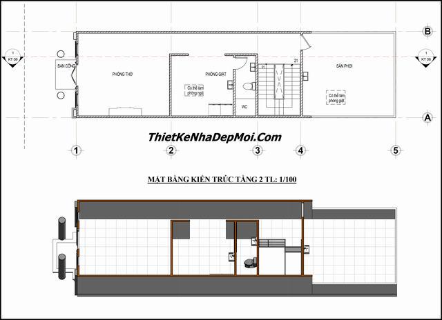 Bản vẽ nhà phố 5x18m 3 tầng
