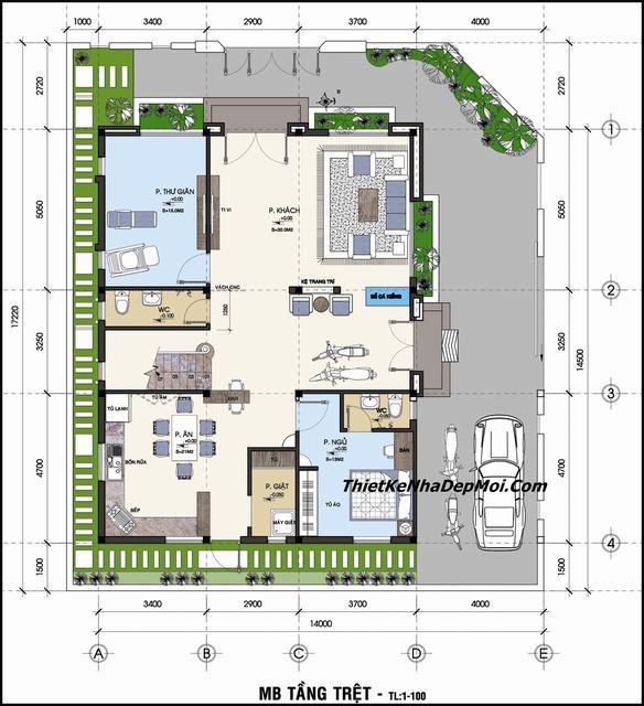 Bản vẽ nhà mái bằng hiện đại 2 tầng