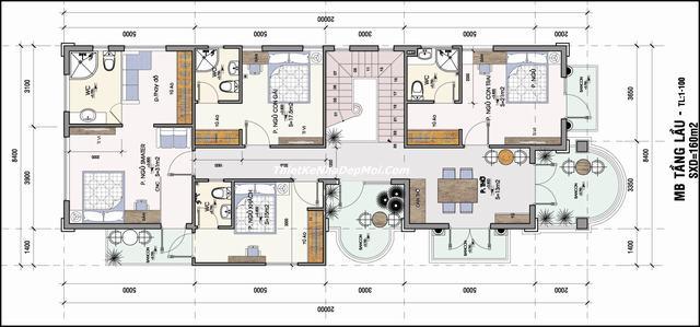 File cad bản vẽ nhà phố 2 tầng 7x20m