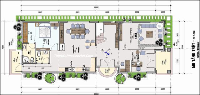 Mặt bằng biệt thự 2 tầng 7x20m ở Vĩnh Long