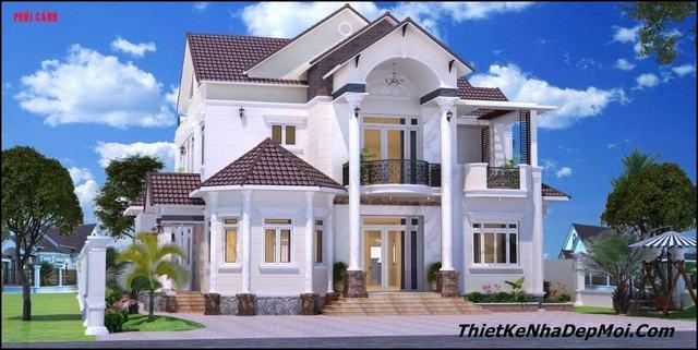 Mặt tiền nhà biệt thự đẹp 2 tầng 13m