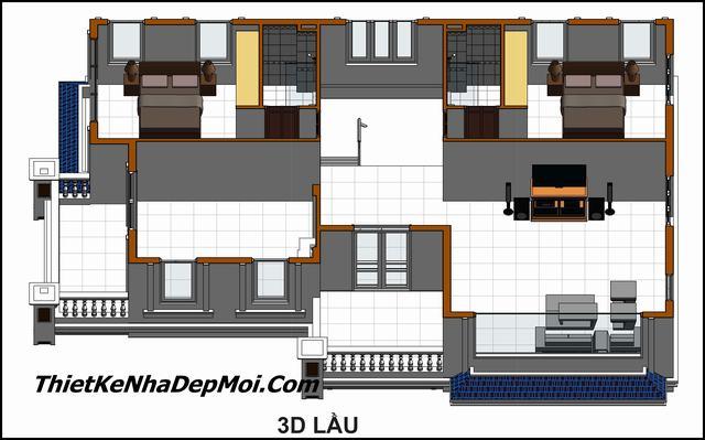 Thiết kế nhà 1 trệt 1 lầu có 4 phòng ngủ