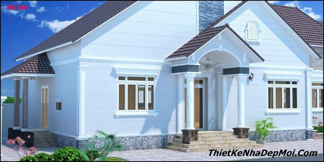 Bản vẽ nhà 1 tầng mái thái có phòng thờ