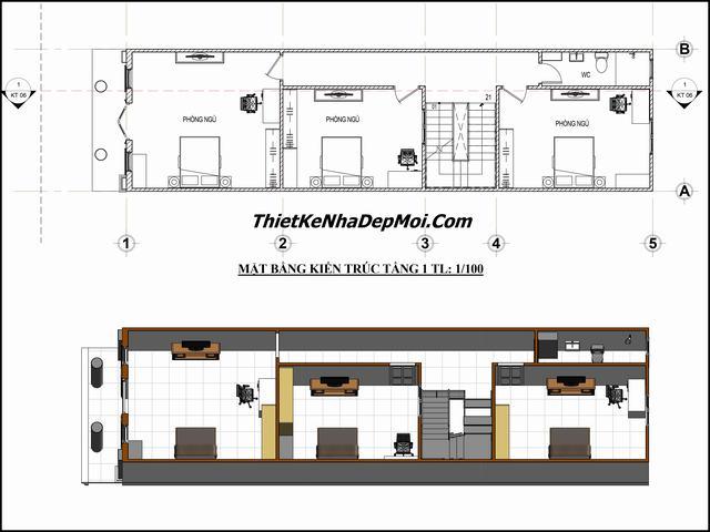 Bản vẽ nhà 1 trệt 1 lầu 5x20m