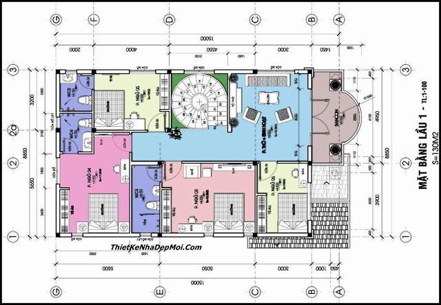 Bản vẽ biệt thự 2 tầng 6 phòng ngủ hướng Tây Nam