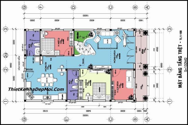 Nhà biệt thự 2 tầng 9x15m có 6 phòng ngủ
