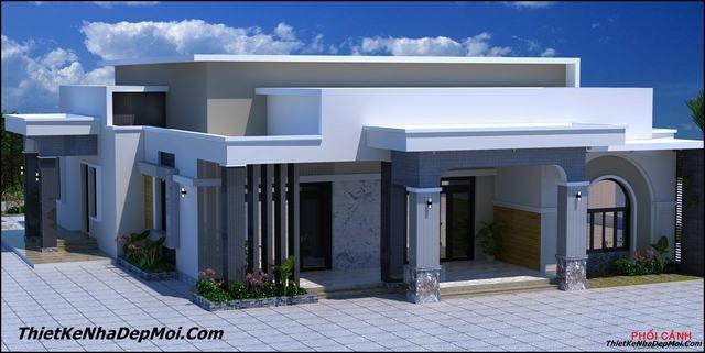 Nhà mái bằng 1 tầng 4 phòng ngủ ở quê