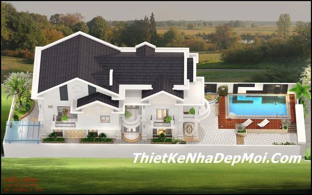 Mẫu nhà biệt thự mini 2 tầng mái thái 7x20m