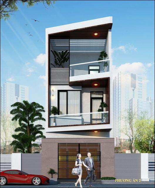 Thiết kế nhà trên đất hình thang 60m2