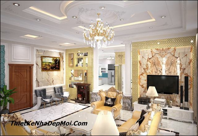 Hình ảnh nội thất phòng khách tân cổ điển