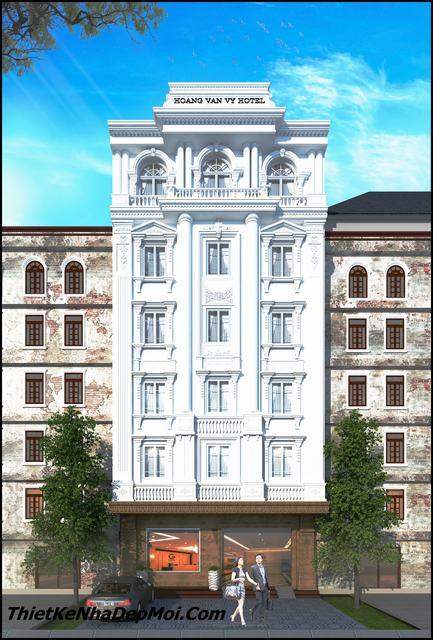 Mặt tiền thiết kế khách sạn cổ điển 6 tầng 10m