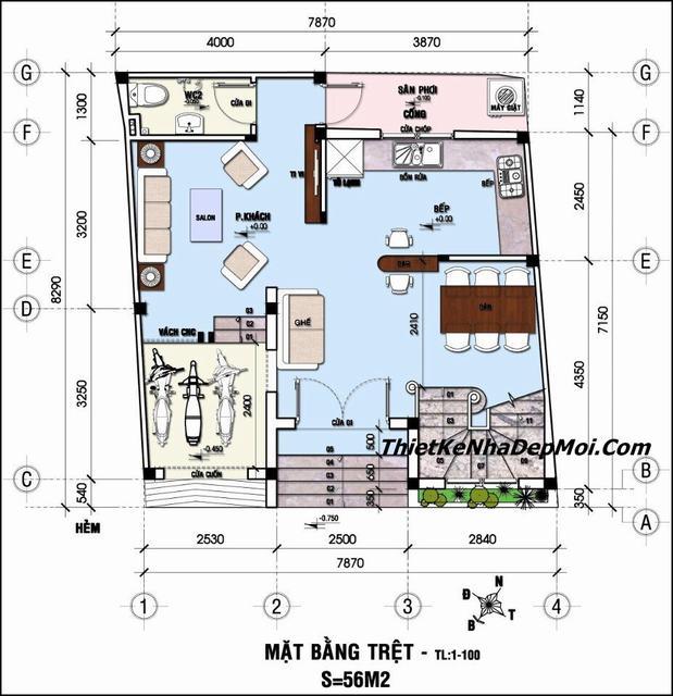 Thiết kế nhà 8x7m
