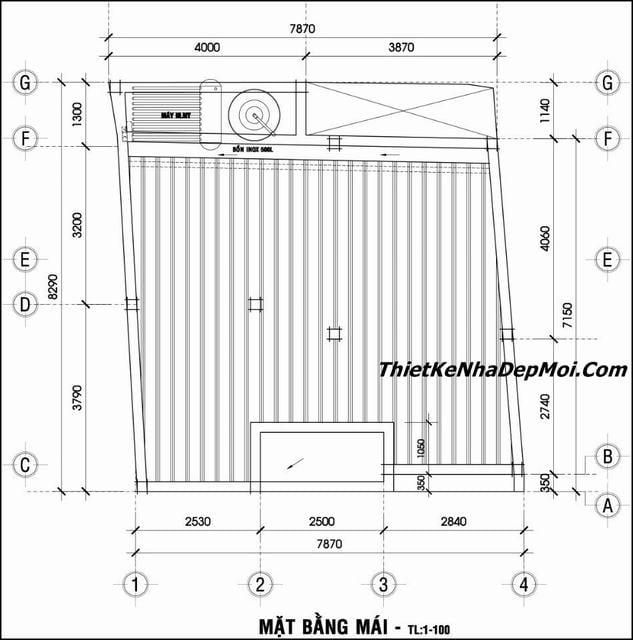 Bản vẽ xây nhà 2 tầng 8x7m