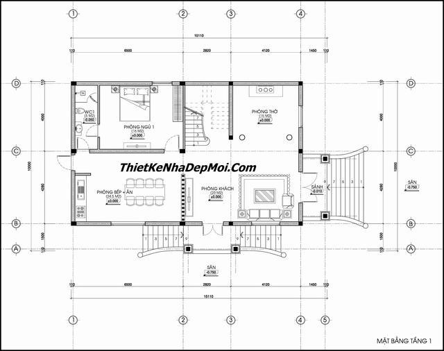 Bản vẽ biệt thự 2 tầng 10x15m