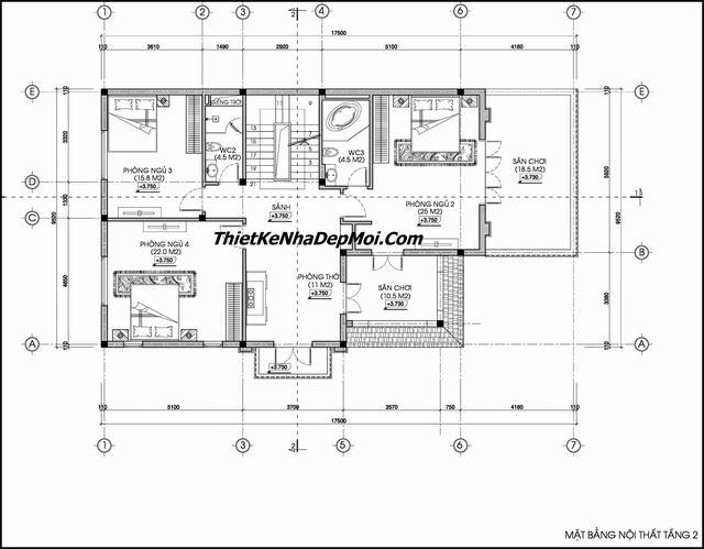 Bản vẽ nhà 2 tầng đầy đủ
