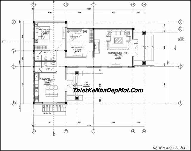 Thiết kế nhà trệt chữ L 2 phòng ngủ