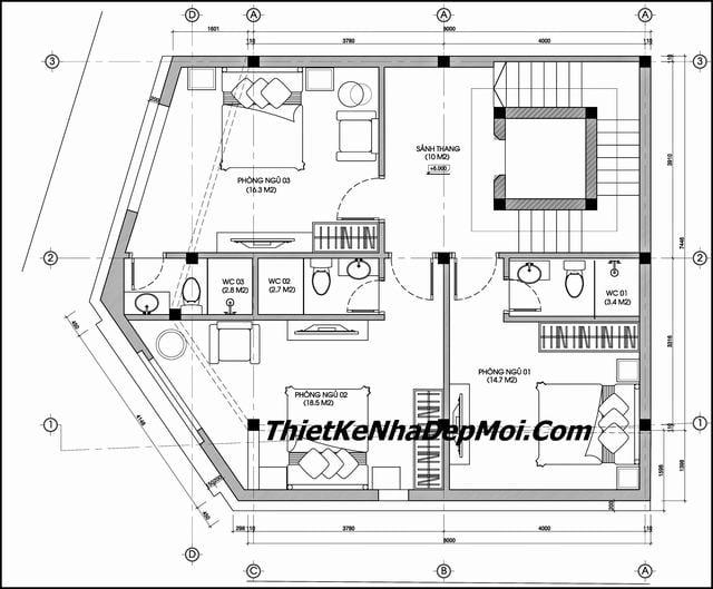 Bản vẽ thiết kế nhà nghỉ có thang mái