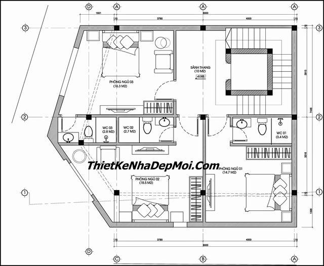 mặt bằng nhà nghỉ 2 mặt tiền hình vuông xéo