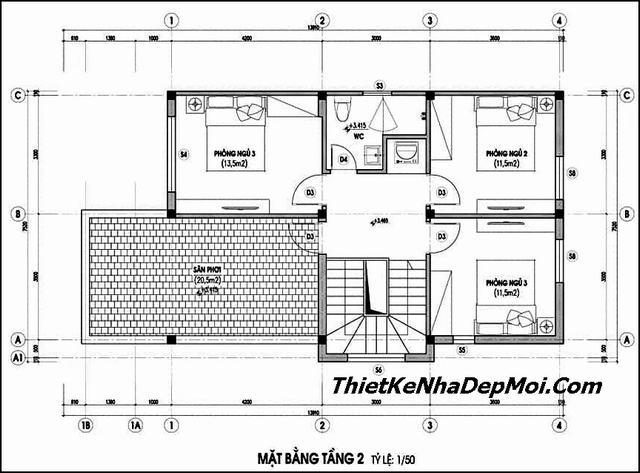 Bản vẽ kích thước nhà 2 tầng 90m2