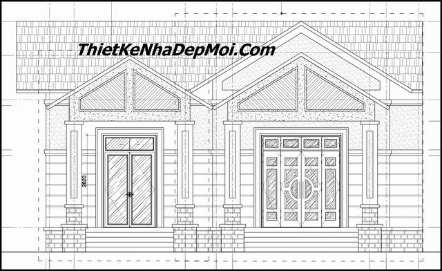 Bản vẽ xây nhà 1 tầng mái thái ngang 12m