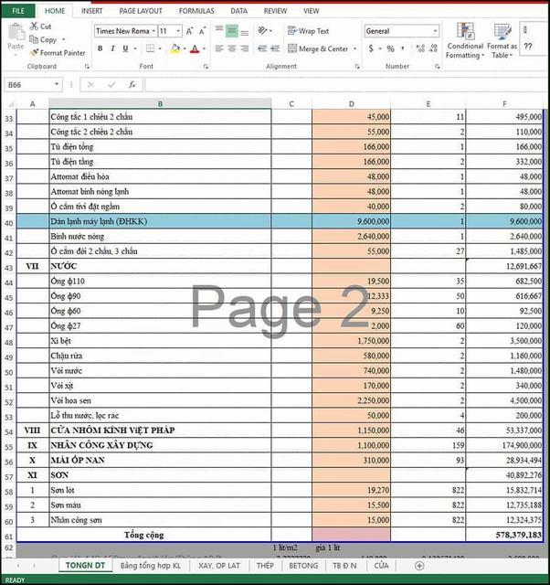 Bảng dự toán xây nhà 2 tầng 2019