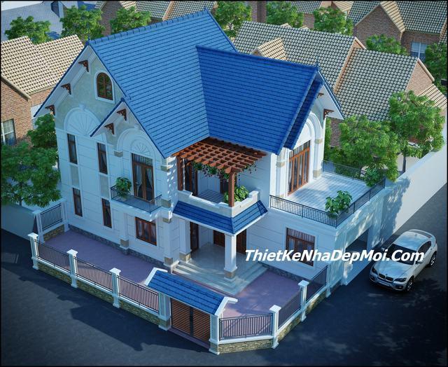 Mẫu nhà 2 tầng mái thái đẹp 2 mặt tiền
