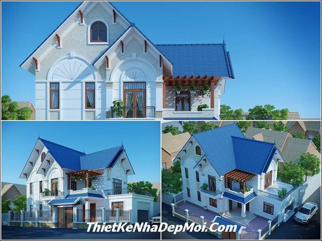 Hình ảnh nhà mái thái 2 tầng đẹp 120m2