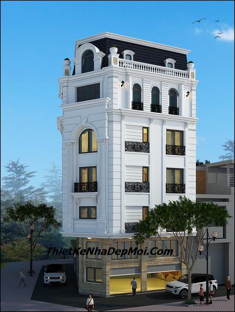 Thiết kế nhà nghỉ 6 tầng 2 mặt tiền