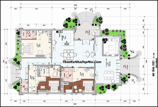 Bản vẽ chi tiết nhà cấp 4 3 phòng ngủ sân vườn 2019