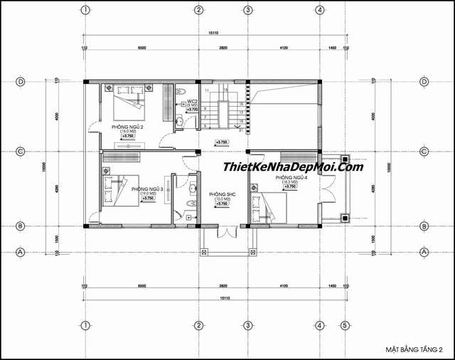Bản vẽ kiến trúc biệt thự 10x15m 2 tầng