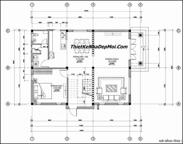 Bản vẽ thiết kế nhà biệt thự 2 tầng 2019