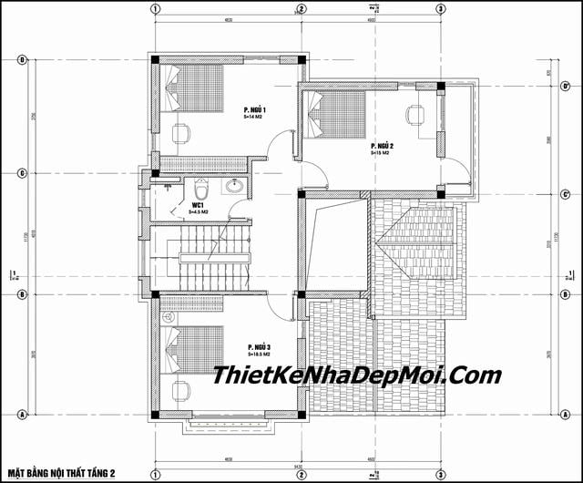 Bản vẽ nhà 2 tầng mái thái 2019