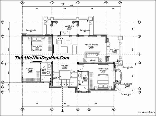Bản vẽ biệt thự 2 tầng rưỡi kiểu châu âu
