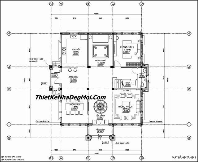 Mặt bằng biệt thự 3 tầng 120m2