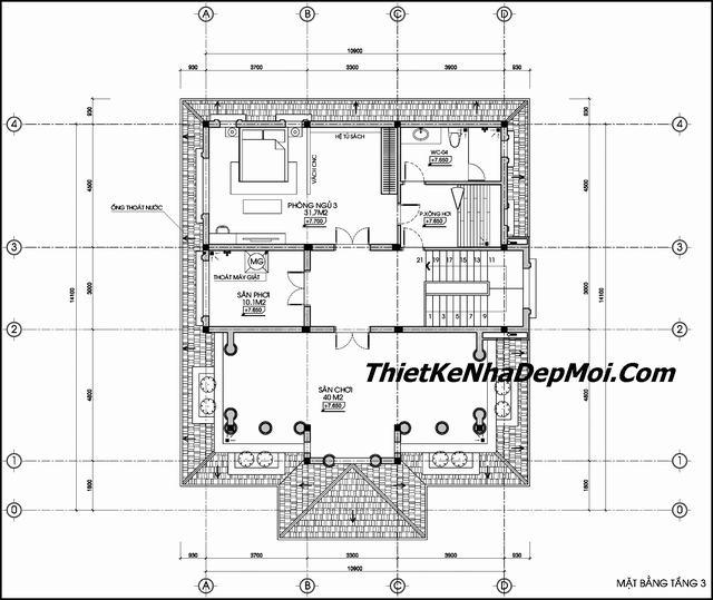 Bản vẽ kiến trúc biệt thự 3 tầng 120m2