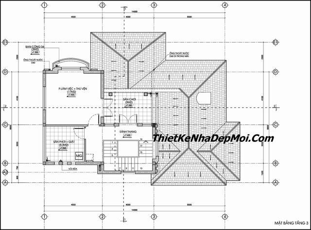 Bản vẽ thiết kế biệt thự 2 tầng rưỡi đẹp 2019