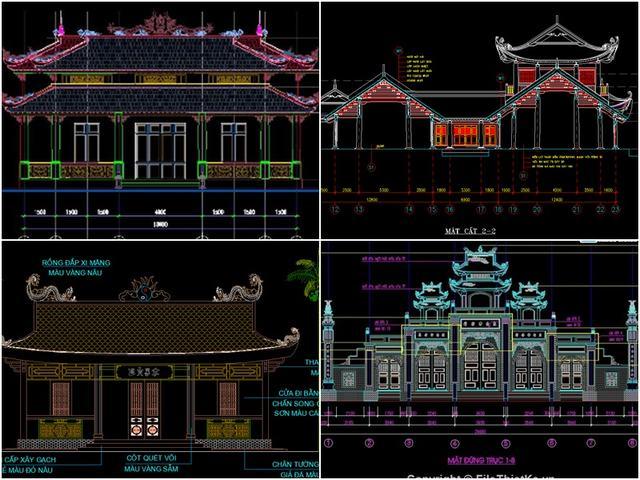 bản vẽ thiết kế đền chùa