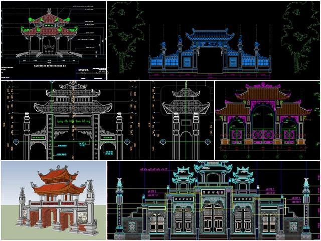 Bản vẽ cổng chùa đẹp