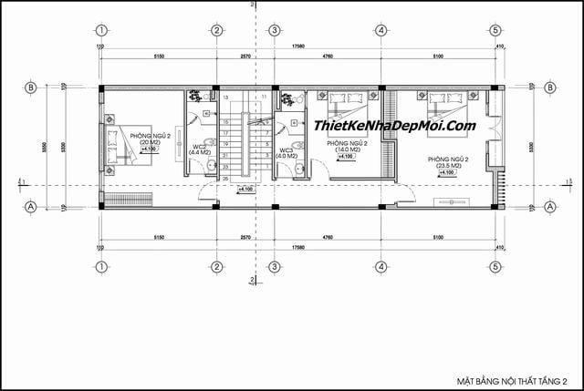 Bản vẽ thiết kế nhà ống 90m2