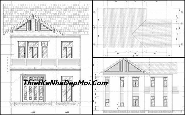 Bản vẽ nhà 2 tầng chữ L 90m2