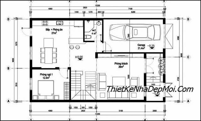 Thiết kế nhà mặt tiền 9m có gara 2 tầng