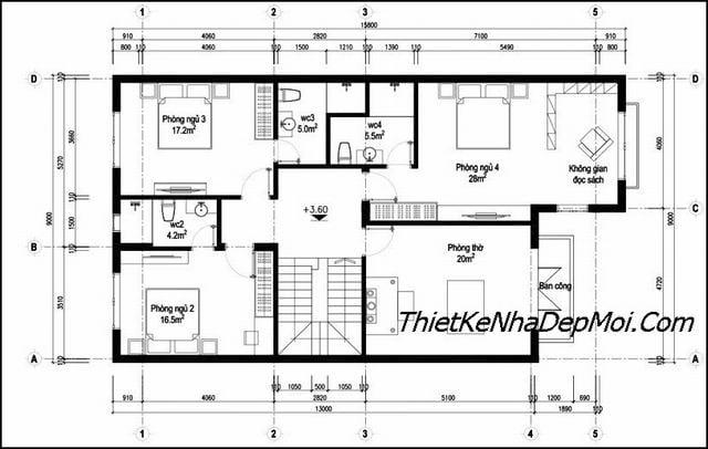Bản vẽ nhà 2 tầng 9x14m có 4 phòng ngủ 1 phòng thờ
